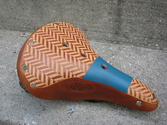Second look. (.Kara.) Tags: leather bike bicycle carving saddle brooks karaginther