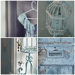Vintage blue (toriejayne) Tags: blue birdcage vintage necklace paint dress postbox hanger frill toriejayne
