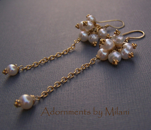 Le Chercheur D'or - Gold Vermeil and Pearls Bridal Earrings Handcrafted Boutique Jewelry