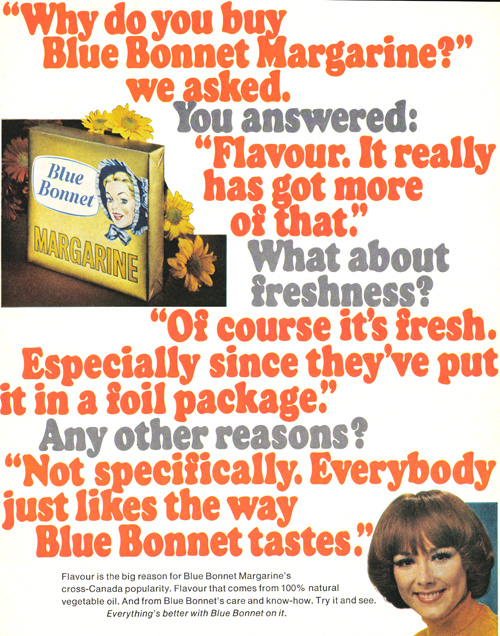 Vintage Ad #891: Do You Buy Blue Bonnet Margarine Because of the Text-Heavy Ad?