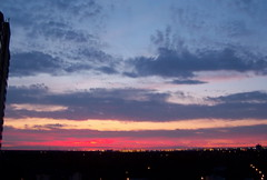 edm09h070 Another Sunrise from Edmonton, Canada 2009 (CanadaGood) Tags: morning blue red orange canada color colour sunrise dawn edmonton purple ab alberta strathcona 2009 2000s canadagood