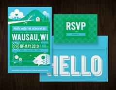 Wausau Invite Set (Katie Kirk) Tags: wedding wisconsin illustration mexico design invite vector kirk islamujeres rsvp wausau weddinginvite eighthourday katiekirk kellykirk tjkolodzinski