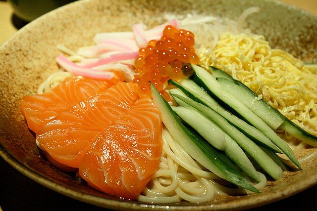 Hiyashi salmon and ikura goma pasta S$14