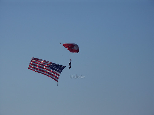 Plano Balloon Festival - Sky Diving - American Flag