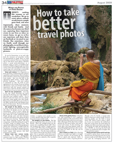 Article Published on One Philippines August 2009
