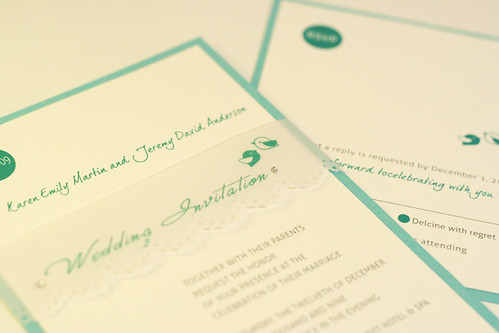 Modern Green Birdie Wedding Invitation-1
