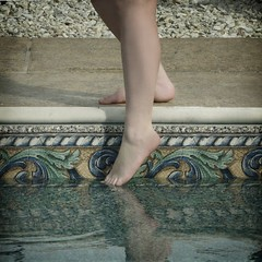 38/52: Courage. (Shot.By.Shel Photography) Tags: portrait woman cold feet me water pool girl self toes legs mosaic gimp ripples calf dip shel calves week38 52weeks victorianishliner