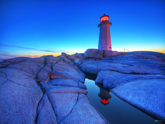 sunset at peggy's cove (paul bica) Tags: ocean sunset sky lighthouse nature water beautiful reflections outdoors moving amazing fantastic rocks novascotia atlantic halifax peggyscove striking distillery dex finest dexxus topcso magicunicornverybest magicunicornmasterpiece 20090827cabot21256hdr