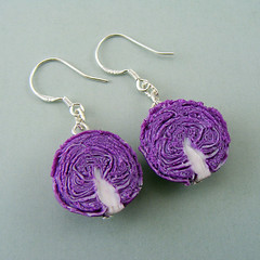 Red Cabbage Earrings (Shay Aaron) Tags: food flower rose miniature handmade aaron fake mini jewelry vegetable polymerclay fimo tiny faux shay earrings organic veggie dangle geekery jewel petit              shayaaron wearablefood