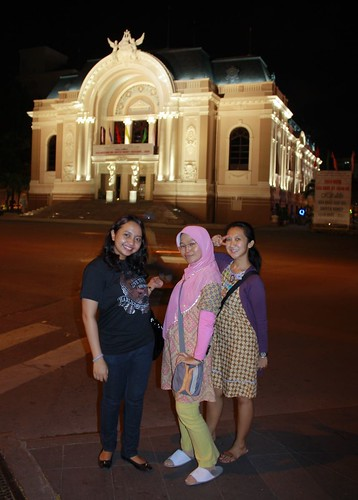 The girls in front of The Opera House