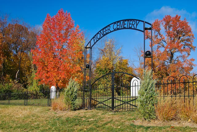 Pioneer Cemetery in the Fall by Crown Hill Cemetery
