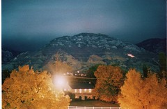 homecoming at BYU (geoffreyyoungblood) Tags: park b autumn red orange mountain heritage fall leaves landscape utah october university nightshot pentax parks belltower provo byu brighamyounguniversity ymountain openlense ymtn