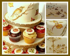 Autumn Wedding (neviepiecakes) Tags: autumn wedding brown leaves cake gold fdsflickrtoys handpainted swirls reds paintedcake botanicaldrawings anedwardiancountrylady