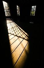 Liquor's Cleansing Light (Universal Stopping Point) Tags: windows light shadow sunlight lines floor kentucky versailles distillery perpendicular floorboards woodfordreserve contrastslightcropbrightnesswb