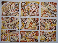 Watercolor study (Dona Mincia) Tags: brown art watercolor painting beige box patterns tribal klimt doodle siena ethnic homage