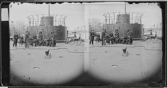 Officers on deck of Monitor by The US National Archives