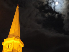 Steeple in the moonlight (jronaldlee) Tags: sky moon tower clock clouds virginia lexington steeple moonlight msh1209 msh120917