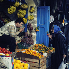 Morocco/Essaouira (Mait Jriado) Tags: ocean africa trip vacation holiday fruits delete5 delete2 erasmus market hijab save3 delete3 save7 save8 delete delete4 save save2 atlantic save9 save4 morocco souk medina save5 save10 save6 citycenter essaouira negotiation savedbydeletemeuncensored maroko aafrika
