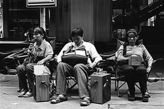 "Three Blind Singers - Bangkok, city of angels (Sailing ""Footprints: Real to Reel"" (Ronn ashore)) Tags: street people blackandwhite music slr film portraits faces trix buskers singers nikonf3 blindness kodakhc110 nikkor50mmf12ais bangkokcityofangels 2010jan008nikonf350mmf12aistrix400620kodakhc110bkkf"