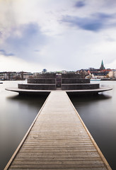 Sickla Udde (Hannes R) Tags: city sky cloud lake water skyline clouds pier town sweden stockholm boardwalk hammarby sickla hammarbysjstad sicklaudde sjstan