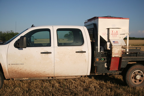 Mike's truck equipped with a Trip Hopper Feed Dispenser