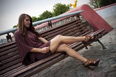 A 21 (Snake_Kiddo) Tags: woman sexy caf girl angel pose mujer dress retrato centro modelo bella tacones puebla hermosa vestido belleza joven piedras banca cuerpo piernas coqueta