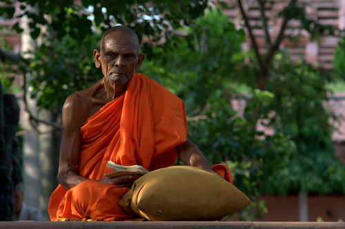 An Indian Buddhist Monk Chanting In Bodhgaya
