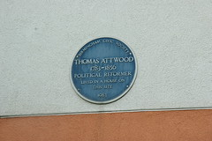 Photo of Thomas Attwood blue plaque