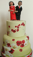 40th Anniversary Cake (neviepiecakes) Tags: flowers red white green poppies vanilla fruitcake toppers fondant tieredcake paintedcake 40thanniversarycake