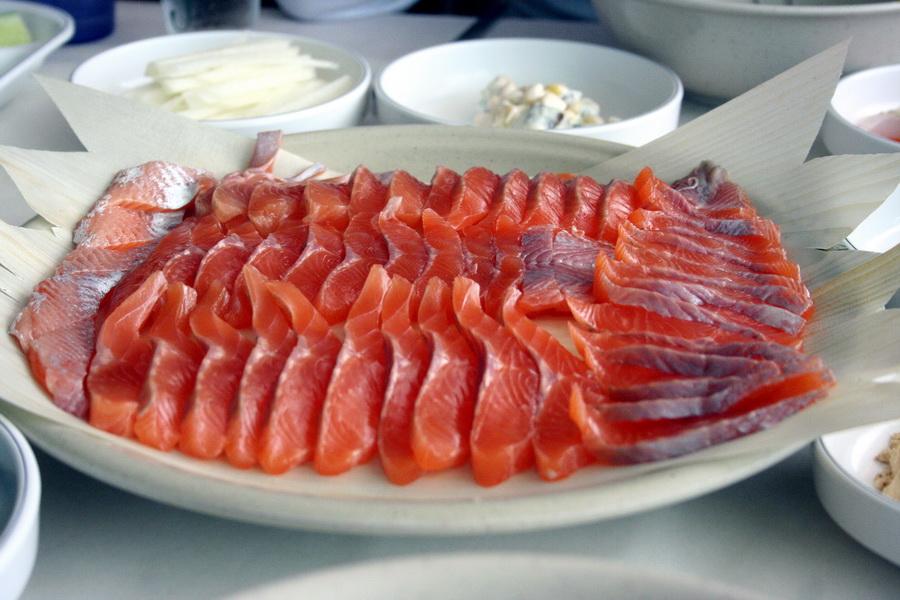 Trout sashimi
