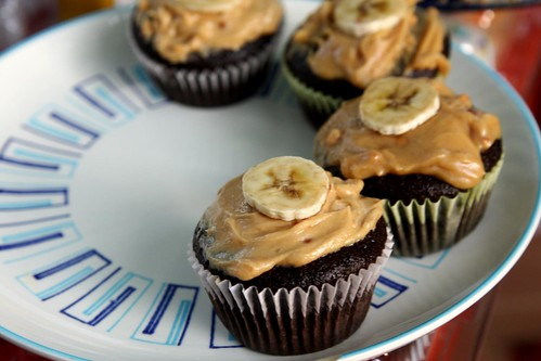 vegan chocolate peanut butter cupcakes, with banana
