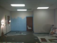 My studio is half-painted/half-unpainted...