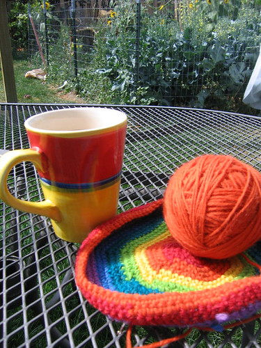 A few minutes of crochet and coffee