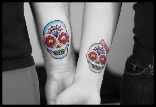 5th year wedding anniversary matching Dia de los Muertos tattoos