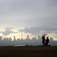 The Proposal (Monochrome Visions) Tags: wedding storm love rain skyline clouds umbrella couple view sydney australia romance ring proposal knee doverheights platinumheartaward