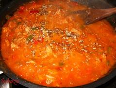 Espaguetti con atún-salsa