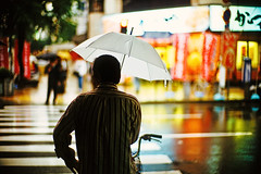 man in the October rain (moaan) Tags: leica light man reflection rain bicycle umbrella 50mm october crossing dof bokeh f10 utata noctilux asphalt 2009 zebracrossing leicam7 m7 fujiprovia100f rdpiii explored leicanoctilux50mmf10 gettyimagesjapanq1 gettyimagesjapanq2