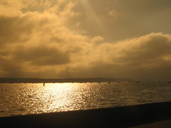 Windsurfing into the sunset at Poole Harbour