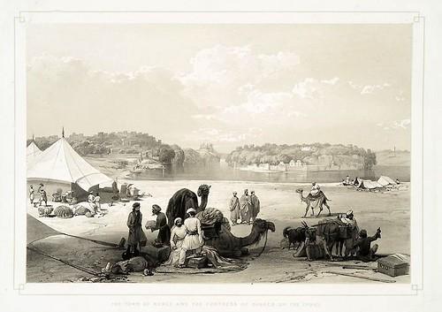017-La ciudad de Roree y la fortaleza de Bukker, en el Indo-Sketches in Afghaunistan 1842- James Atkinson
