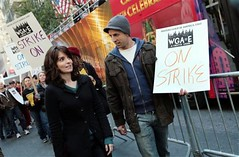 Tina Fey and Seth Myers picket at Rockefeller Center.