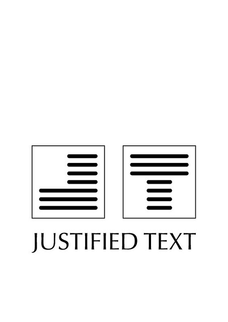 logo JUSTIFIED TEXT editorial