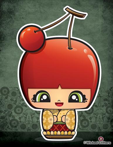 Kawaii: Cherry Pie Kokeshi Doll (by Wicked Critters)