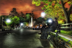 Washington Square Park at Night, Greenwich Village, NYC (WanderingtheWorld (www.LostManProject.com)) Tags: city nyc newyorkcity sky people urban newyork detail fountain night contrast canon photography photo warm cityscape surreal washingtonsquare pro hdr wwh washingsquarepark canon50d colorphotoaward