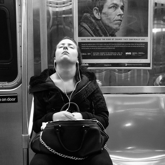 Asleep on the subway, NYC