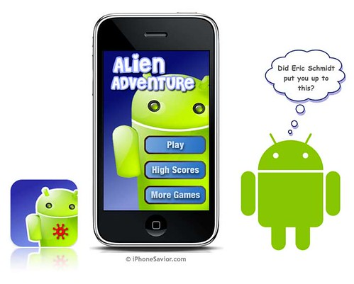 Alien Challenge iPhone App (looks a lot like Google Android logo)