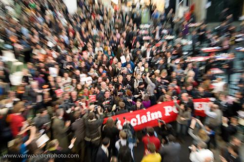 Reclaim Power march through the Bella Centre