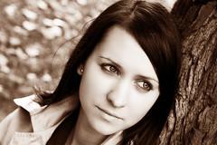 Erika (Anett Budai) Tags: autumn portrait woman girl beauty face sepia female canon amazing eyes bokeh erika városliget 40d peopleenjoyingnature luxtop100