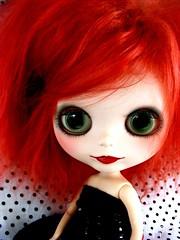 Cerise (Laura [Puppet]) Tags: red doll polka dot mohair blythe prima custom dolly takara saffy