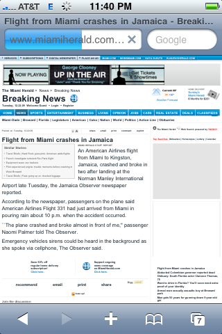 Unfortunate Contextual Ad Placement for 'Up in the Air' in the Miami Herald