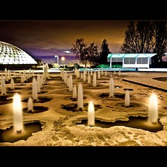 Frozen Fountains (Christopher J. Morley) Tags: ice night vancouver frozen footprints observatory fountains happynewyear queenelizabethpark toallmyflickrfriends